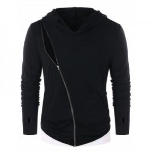 Contrast Color Zip Embellished Long Sleeve Hoodie