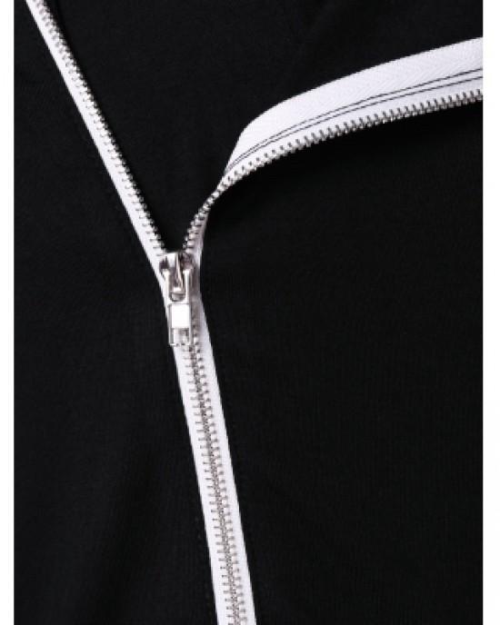 Asymmetric Zip Embellished Panel Hoodie