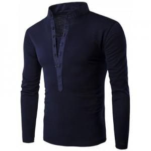 Long Sleeve Grandad Collar Button T Shirt